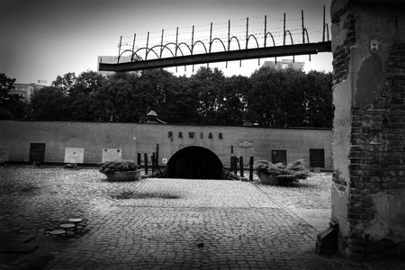 annihilation: Warsaw, Poland - September 26, 2009: Pawiak Prison Museum. Prison was built in 1835. Following the German invasion of Poland in 1939 it was turned into a German Gestapo prison. Editorial