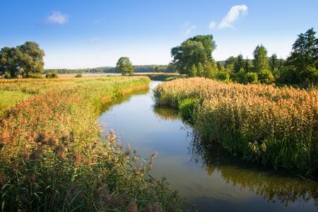 flowing river: Elk River estuary to the Lake Haleckie. Masuria, Poland. Stock Photo