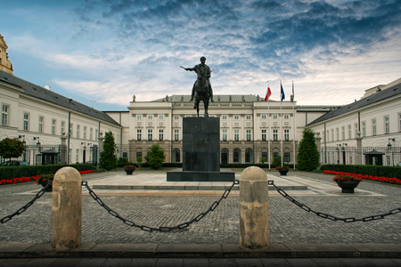 Warsaw, Poland - August 28, 2008:  Front of the Polish Presidential Palace with statue of Prince Jozef Poniatowski . Palace is the seat of the Polish president.