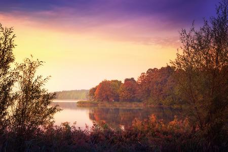 masuria: Lake Elk in autumn. Masuria, Elk, Poland.