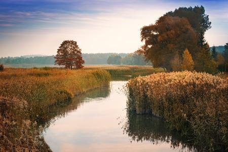 masuria: Elk River estuary to the Lake Haleckie. Masuria, Poland. Stock Photo