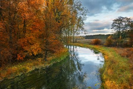masuria: Elk River in autumn.  Masuria, Poland. Stock Photo