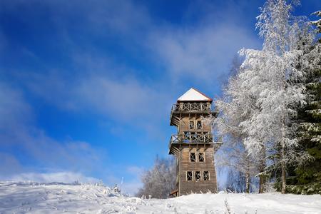 masuria: observation tower in  Stare Juchy. Masuria, Poland. Stock Photo