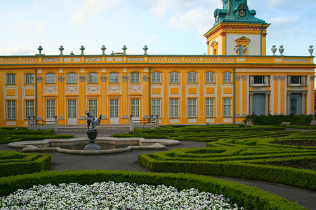 Warsaw, Poland - May 17 2009: Side view of  Wilanow Royal Palace with garden. The palace was built in the years 1681-1696 for King Jan III Sobieski. Editorial