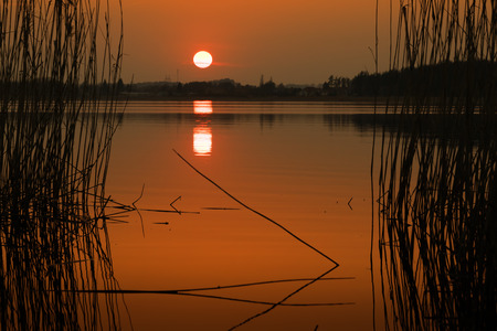 masuria: Sunset over Lake Elk. Masuria, Poland.