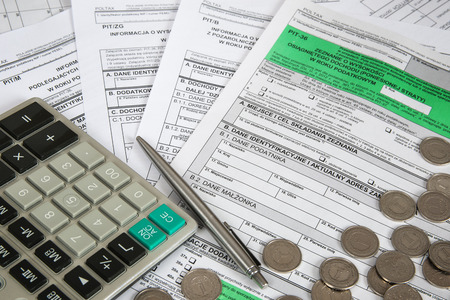 Polish tax form PIT-36 with other attachments for personal income tax Stock Photo