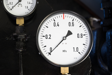 Pressure gauges in the old steam locomotive.
