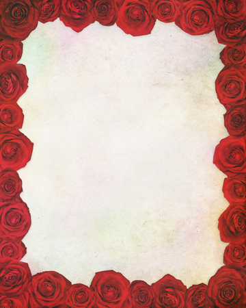 paper textures: Vintage paper textures with floral frame. Rose.