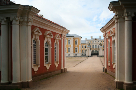 rundale: Rundale, Latvia - September 10, 2011: Rundale palace entrance.  A baroque palace is standing in the suburbs of Rundale, Latvia. It was built in the middle of the 18th century as a residence of the Duke of Courland.