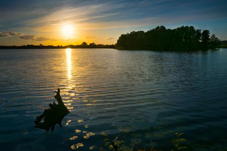 masuria: Sunset over Sunowo Lake. Masuria. Poland