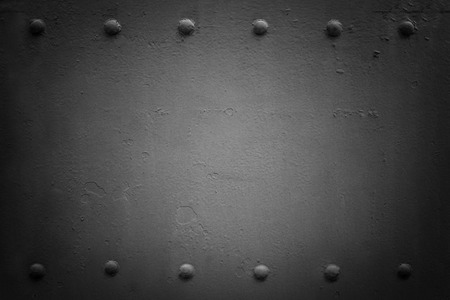 armour plating: Riveted industrial plate. Metal background. Black