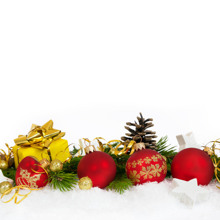 Christmas lower decoration with balls, stars  and gift on white background. Square.