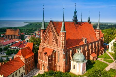 Frombork panorama.in the foreground cathedral, place where Nicolaus Copernicus was buried.  Poland. Stock Photo