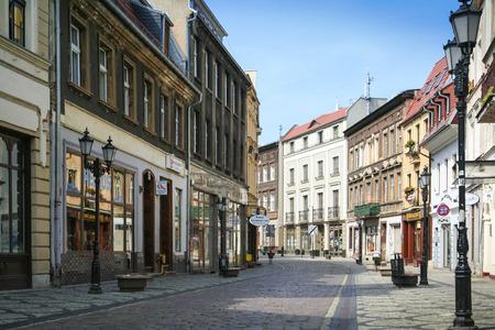 Bydgoszcz, Poland - August 5, 2012: Empty Long Street in Old Town in Bydgoszcz.