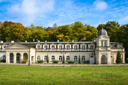 Naleczow, Poland - September 28, 2008: Front view of the Old Bath-House of the spa resort built early XIX century