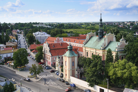 Sandomierz, Poland - June 25, 2011: Panorama of the city of Sandomierz. In the foreground Church of Sts. Michael the Archangel, built in 1686-1692. Editorial