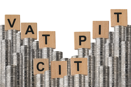 Rows of coin stacks with wooden blocks isolated on white, symbolizing the budget.