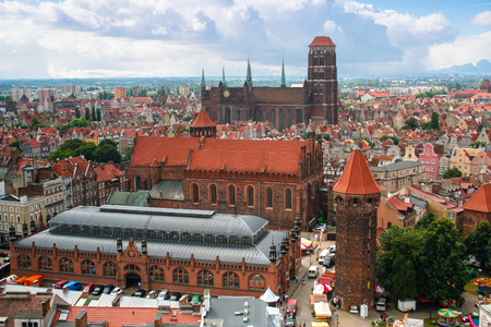 Gdansk, Poland - August 2, 2013: Gdansk Old Town Panorama. Pomerania, Poland, Europe. Editorial