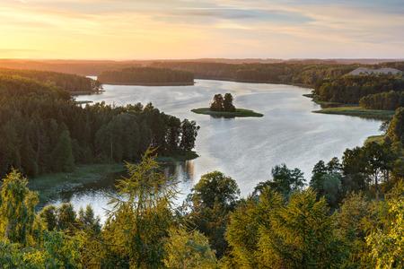 Beautiful Jedzelewo Lake in summer. Stare juchy, Poland. Stock Photo