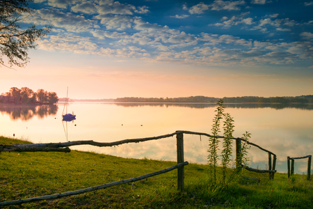 Sunrise over the Lake Selment the Great. Masuria, Poland.