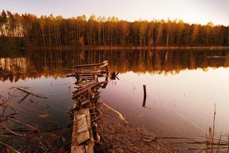 Footbridge over the Lake Zierczyk.  Masuria, Poland.