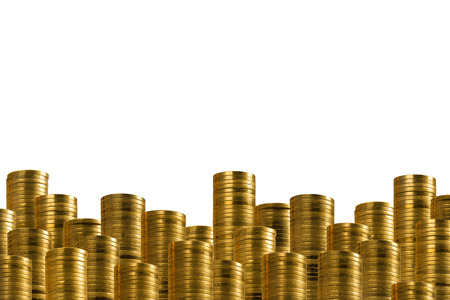 Rows of golden coins isolated on white. lower decoration with money.