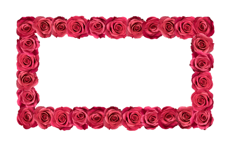 Frame made of pink roses. Isolated on white.