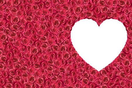 white heart surrounded by roses.  Raster illustration.
