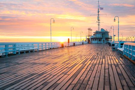 Sopot; Poland -  June 14, 2017: The Sopot Pier - the longest wooden pier (Molo) in Europe in Sopot on Baltic sea. Editorial