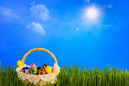 Basket with colorful easter eggs on green grass. Raster illustration.