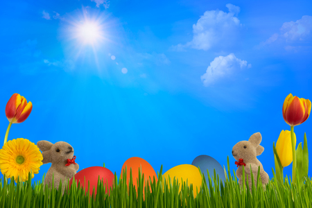 Easter decoration with rabbits, eggs, flowers under the blue sky.