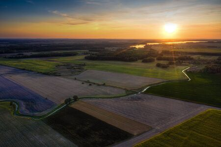 Aerial view of a country agricultural landscape. Masuria, Poland.