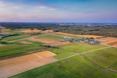 Colorful coutryside landscape. Aerial view. Masuria, Poland.