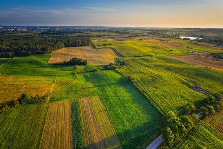 Luftaufnahme einer landwirtschaftlichen Landschaft. Masuren, Polen.