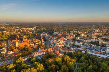 Morning sun illuminates the old town of Olsztyn. Warmia, Poland. Stok Fotoğraf