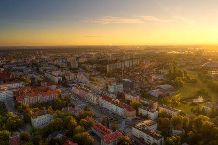 Morning sun illuminates the old town of Olsztyn. Warmia, Poland. 写真素材