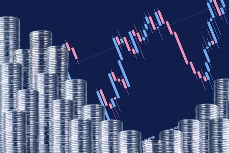 Rows of silver coins with a graph. Blue crossing. Stock fotó