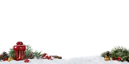 Christmas panoramic decoration with lantern, cones and rrowanberries isolated on white background. Imagens