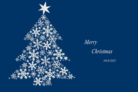 Christmas tree made of white stars on dark blue background. Christmas card. Imagens
