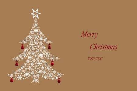Christmas tree made of white stars and red hanging baubles on beige background. Christmas card.