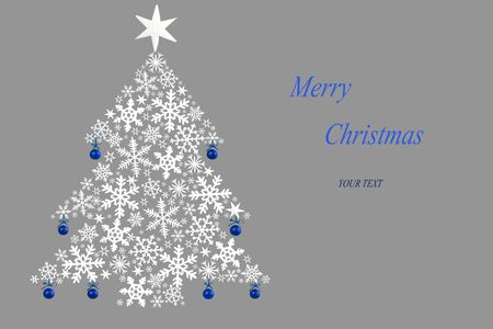 Christmas tree made of white stars and blue hanging baubles on gray background. Christmas card. Imagens