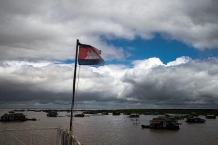 monsoon clouds: monsoon at cambodia , lake village Stock Photo