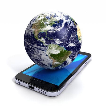 globe on the smart phone
