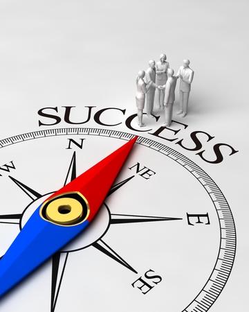 성공을 가리키는 방위각 바늘