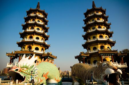 towers of dragon and tiger,Its famous scene spot in taiwan  Stock Photo