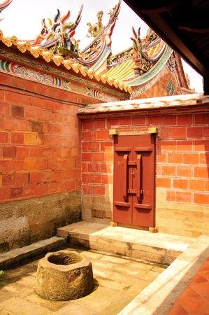 well and door of chinese temple