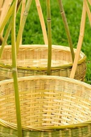 workmanship: bamboo basket and chair  made by  traditional workmanship   Stock Photo