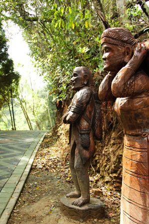 wooden statue which are  aborigine in Taiwan