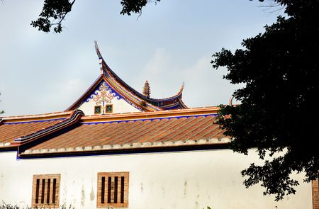 part  roof  of temple in taiwan historic building  Stock Photo