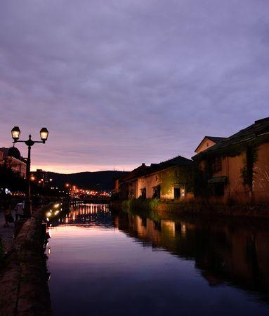 Sc�ne de nuit et de la rivi�re Otaru
